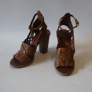 "TORY BURCH ""PECHA"" BROWN LEATHER WOVEN SANDALS 7.5"